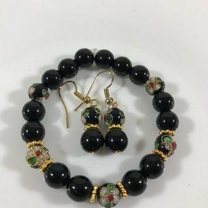 Jewelry - Handmade beaded bracelet with earrings.